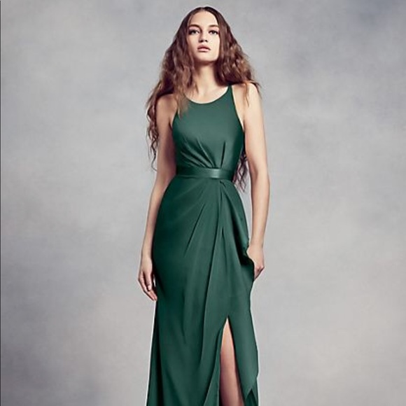 79a107a7739f White by Vera Wang Dresses | Nwt Vera Wang Forest Green Chiffon ...